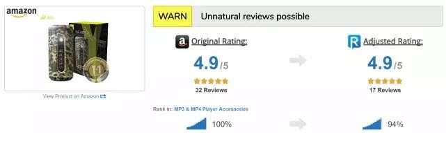 El algoritmo de ReviewMeta detecta las críticas de este producto como no naturales y ajusta la puntuación hacia abajo